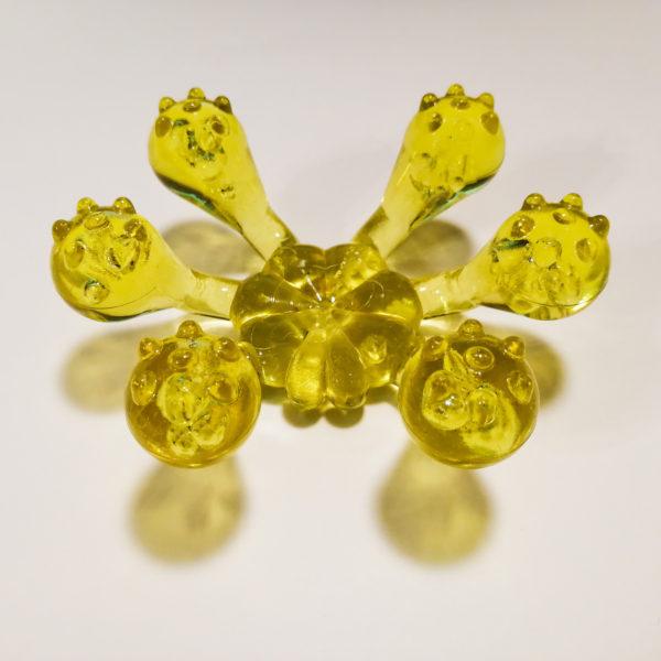 Массажер «Лапонька Краб»  с шипами на шести массажных элементах (Желтый)