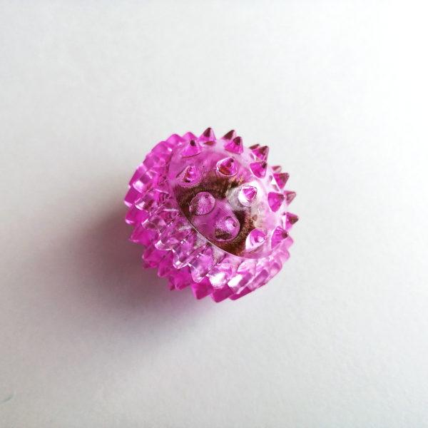 Массажный шарик с шипами и массажным колечком СУ ДЖОК (Фиолетовый)